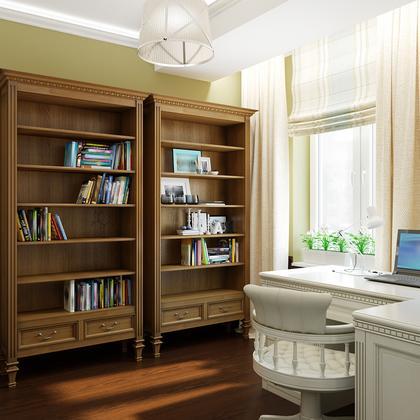 Домашний мини-кабинет под заказ из шпона и мдф с книжными шк.