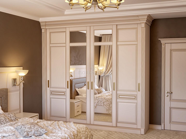 классический шкаф купе для спальни с зеркалами и патинированием